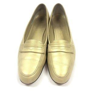 Salvatore Ferragamo gold leather loafers 8.5 US